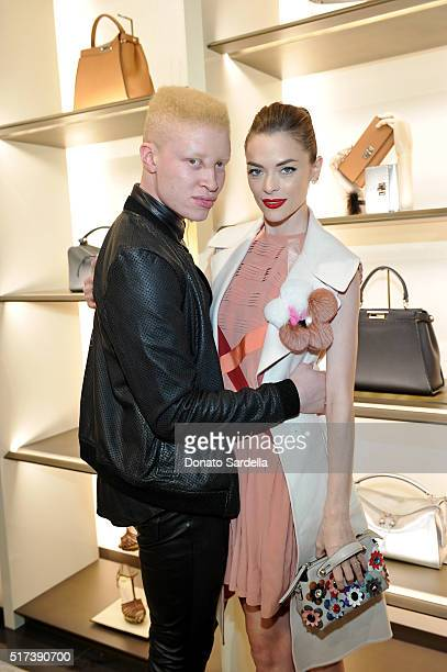 Model Shaun Ross and actress Jaime King attend Fendi and Vogue Celebrate Fendi Beverly Hills at Fendi on March 24 2016 in Beverly Hills California