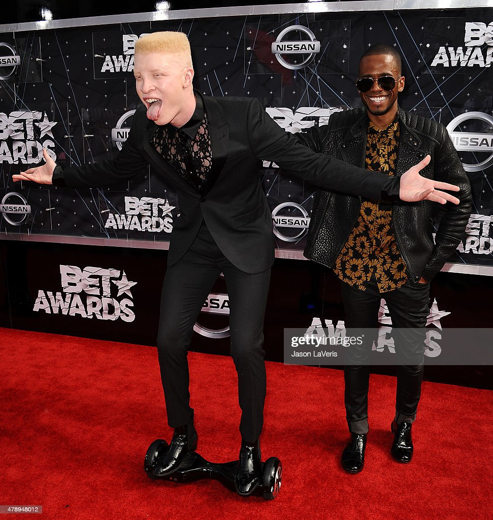 Model Shaun Ross and Eric West attend the 2015 BET Awards at the Microsoft Theater on June 28, 2015 in Los Angeles, California.