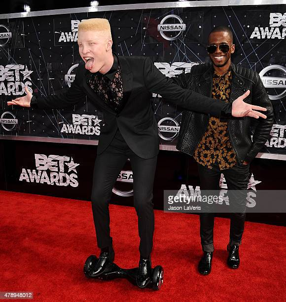 Model Shaun Ross and Eric West attend the 2015 BET Awards at the Microsoft Theater on June 28 2015 in Los Angeles California