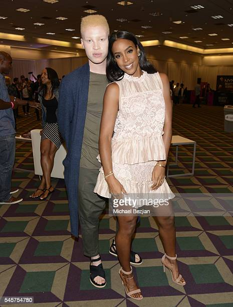 Model Shaun Ross and singer Kelly Rowland at the 4th Annual Beautycon Festival Los Angeles at Los Angeles Convention Center on July 9 2016 in Los...