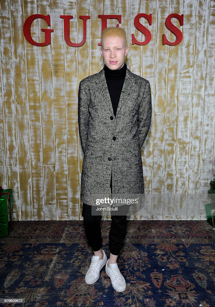 Model Shaun Ross attends GUESS Glitz and Glam Holiday event at The Carondelet House on December 13, 2016 in Los Angeles, California.