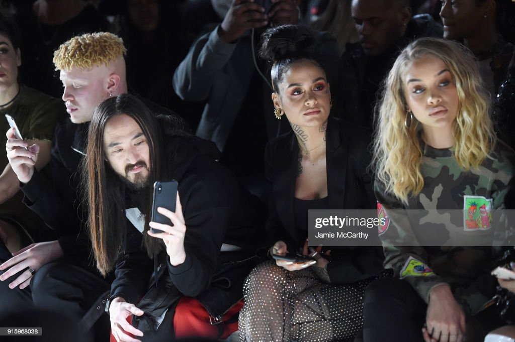 Model Shaun Ross, DJ Steve Aoki, recording artist Kehlani, and actor Jasmine Sanders attend the Jeremy Scott front row during New York Fashion Week: The Shows at Gallery I at Spring Studios on February 8, 2018 in New York City.