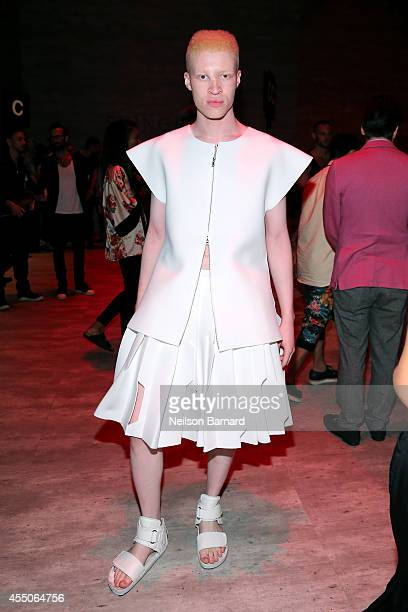 Model Shaun Ross poses at the Skingraft fashion show during Mercedes-Benz Fashion Week Spring 2015 at The Pavilion at Lincoln Center on September 9,...