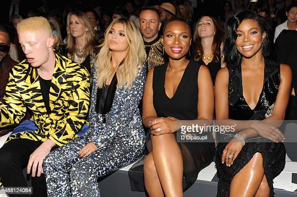 Model Shaun Ross tv personality Kylie Jenner singer Jennifer Hudson and actress Gabrielle Union attend Prabal Gurung Spring 2016 during New York...