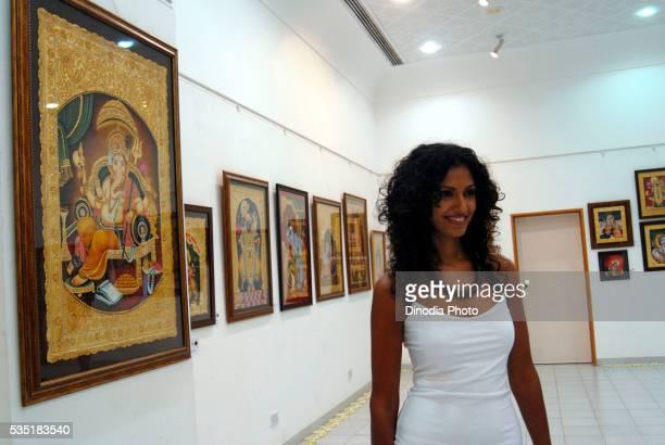 Model Sheetal Mallar at an art gallery in Mumbai, Maharashtra, India.