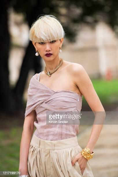 Model Shen Shen wears Chloe on February 27, 2020 in Paris, France.