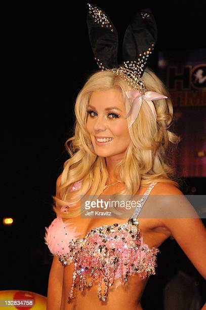 Model Sheridyn Fisher arrives at the Hot Tub Time Machine Bluray and DVD launch party at the Kandyland V red carpet at the Playboy Mansion on June 26...