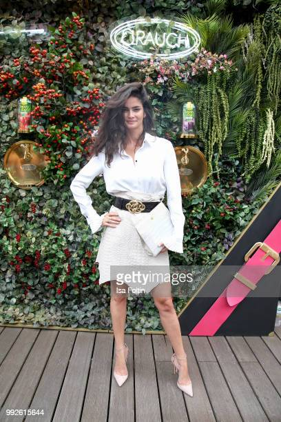 Model Shermine Shahrivar attends The Fashion Hub during the Berlin Fashion Week Spring/Summer 2019 at Ellington Hotel on July 5 2018 in Berlin Germany