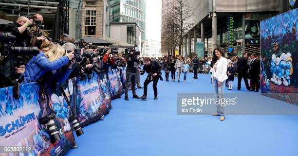 Model Shermine Shahrivar during the 'Die Schluempfe Das verlorene Dorf' premiere at Sony Centre on April 2 2017 in Berlin Germany