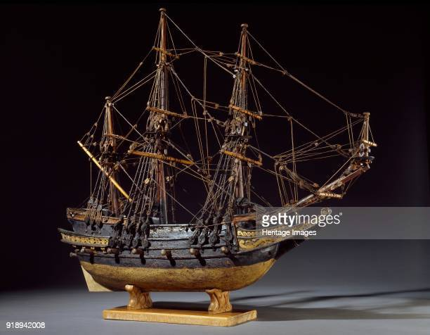 Model Ship 17th century Model ship with hull carved from solid oak and rigged with a bowsprit and three masts There are 6 guns on each broadside The...
