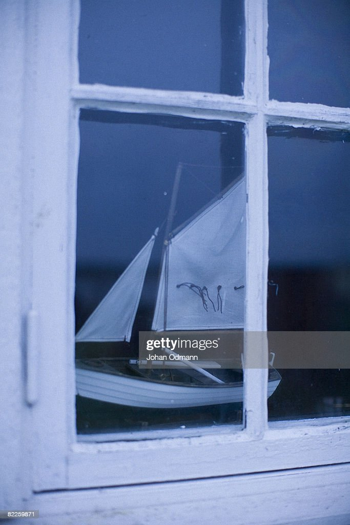 A model ship in a window Sweden. : Stock Photo