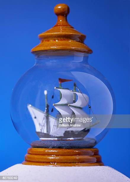 model ship in glass container - ship in a bottle stock pictures, royalty-free photos & images
