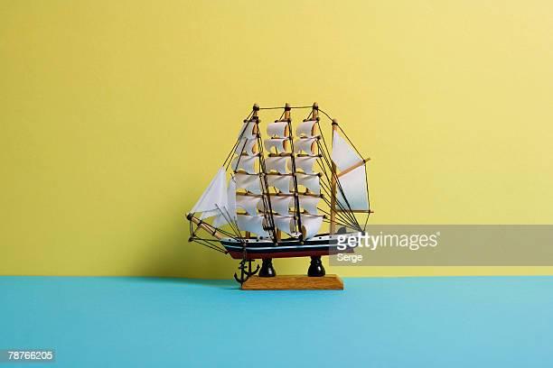 A model ship on a table