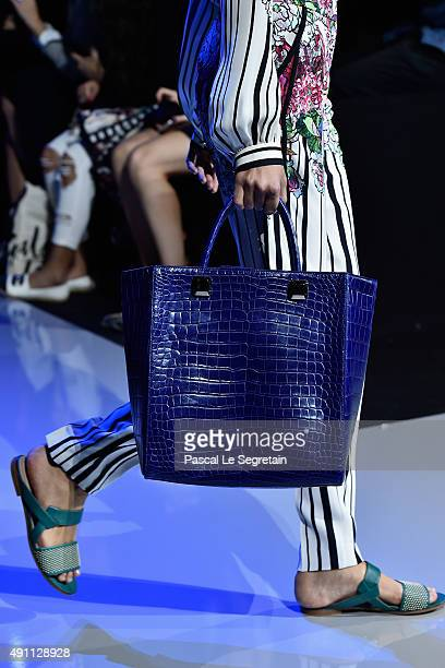 A model shoe and bag detail walks the runway during the Elie Saab show as part of the Paris Fashion Week Womenswear Spring/Summer 2016 on October 3...