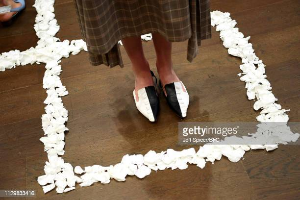 A model shoe detail at the Gayeon Lee Presentation during London Fashion Week February 2019 on February 15 2019 in London England