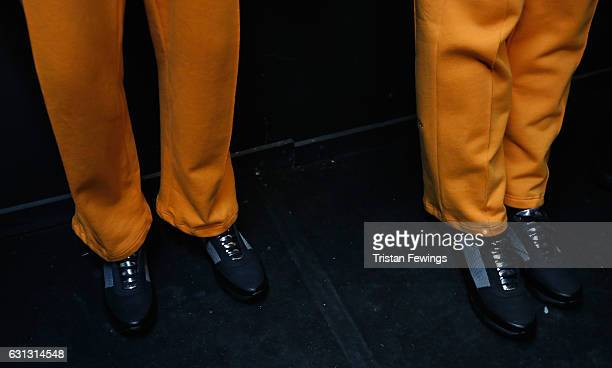 A model shoe detail backstage ahead of the Blood Brother show during London Fashion Week Men's January 2017 collections at BFC Presentation Space on...