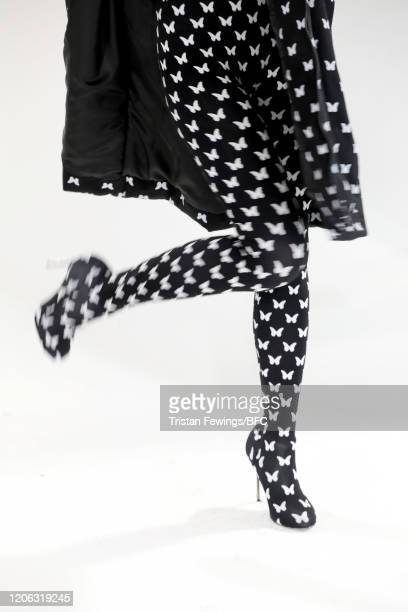 A model shoe detail poses at the Agne Kuzmickaite AW20 presentation during London Fashion Week February 2020 at Victoria House on February 14 2020 in...