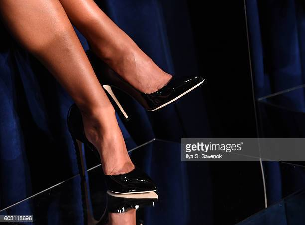 A model shoe detail poses at the Chloe Gosselin Presentation during MADE Fashion Week September 2016 at Milk Studios on September 11 2016 in New York...