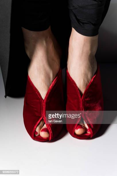 A model shoe detail poses at the Urun show during MercedesBenz Istanbul Fashion Week at the Zorlu Performance Hall on March 27 2018 in Istanbul Turkey