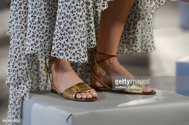A model shoe detail poses at the Veronica Beard Spring 2018 Presentation on September 11 2017 in New York City