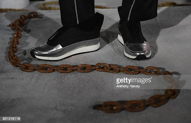 A model shoe detail showcases designs during the Blood Brother presentation during London Fashion Week Men's January 2017 collections at BFC...