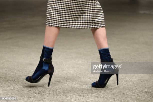 A model shoe detail walks the catwalk at Odeeh Defile during 'Der Berliner Salon' AW 18/19 on January 17 2018 in Berlin Germany