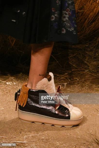 A model shoe detail walks the runway at Coach fashion show during New York Fashion Week at Hudson River Park Pier 76 on on February 14 2017 in New...