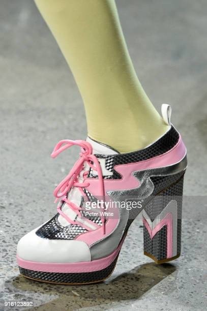 A model shoe detail walks the runway at Jeremy Scott Show Fall 2018 during New York Fashion Week The Shows at Gallery I at Spring Studios on February...