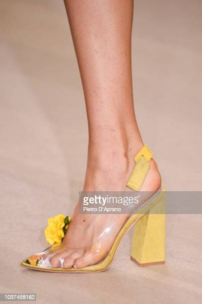 A model shoe detail walks the runway at the Antonio Croce show during Milan Fashion Week Spring/Summer 2019 on September 21 2018 in Milan Italy