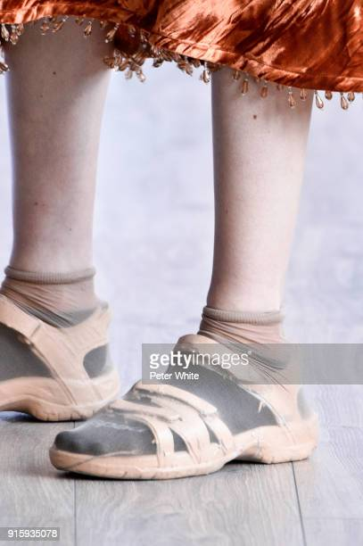 A model shoe detail walks the runway at the Collina Strada AW18 Show during New York Fashion Week on February 8 2018 in New York City