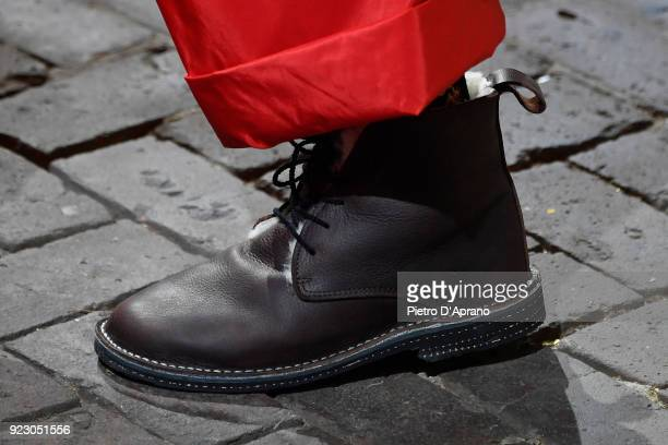 A model shoe detail walks the runway at the Daniela Gregis show during Milan Fashion Week Fall/Winter 2018/19 on February 22 2018 in Milan Italy