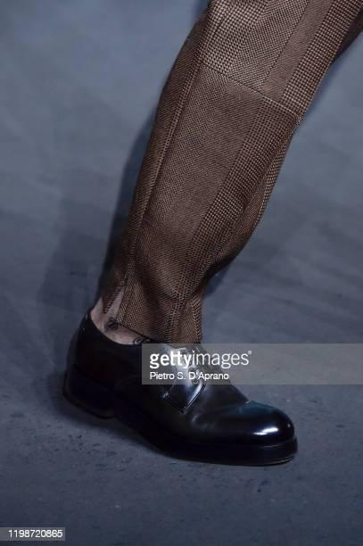 Model, shoe detail, walks the runway at the Ermenegildo Zegna fashion show on January 10, 2020 in Milan, Italy.