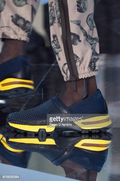 A model shoe detail walks the runway at the Ermenegildo Zegna show during Milan Men's Fashion Week Spring/Summer 2019 on June 15 2018 in Milan Italy