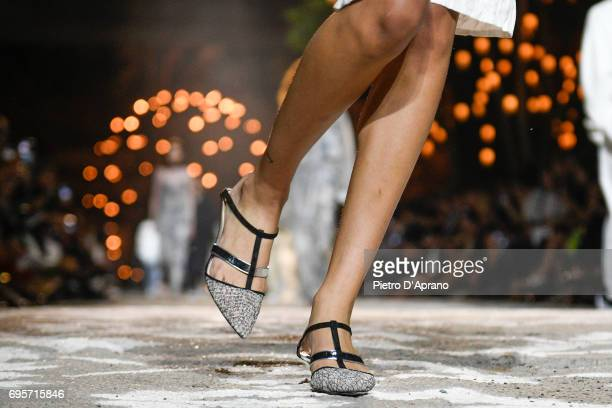 Model, shoe detail, walks the runway at the Hugo SS18 show during 92. Pitti Immagine Uomo on June 13, 2017 in Florence, Italy.