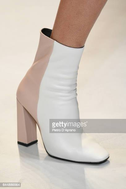 A model shoe detail walks the runway at the Krizia show during Milan Fashion Week Fall/Winter 2017/18 on February 24 2017 in Milan Italy