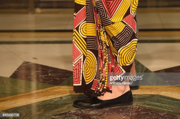 A model shoe detail walks the runway at the Limkokwing University show at Fashion Scout during the London Fashion Week February 2017 collections on...
