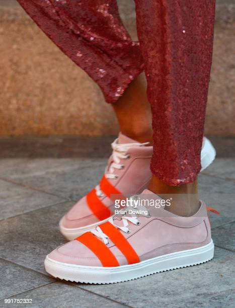 A model shoe detail walks the runway at the Marcel Ostertag show during Berlin Fashion Week Spring/Summer 2019 at Westin Grand Hotel on July 4 2018...