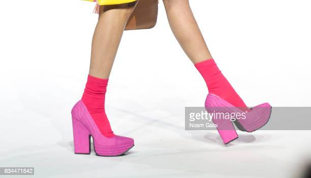 A model shoe detail walks the runway at the Popoganda By Richie Rich fashion show during February 2017 New York Fashion Week at The Theater at...