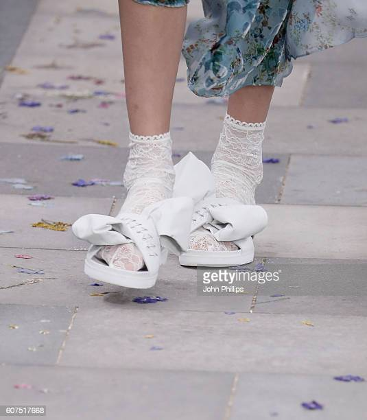 A model shoe detail walks the runway at the Preen by Thornton Bregazzi show during London Fashion Week Spring/Summer collections 2017 on September 18...
