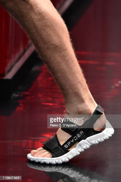 A model shoe detail walks the runway at the Spyder fashion show during the Milan Men's Fashion Week Spring/Summer 2020 on June 17 2019 in Milan Italy