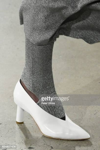 A model shoe detail walks the runway at the Tibi fashion show during New York Fashion Week at S kylight Modern 537 West 27th Street on February 11...