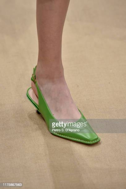Model, shoe detail, walks the runway at the Tod's show during the Milan Fashion Week Spring/Summer 2020 on September 20, 2019 in Milan, Italy.