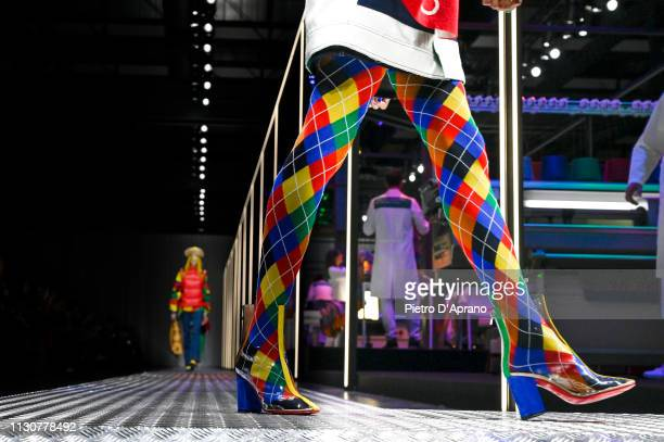 A model shoe detail walks the runway at the United Colours Of Benetton show at Milan Fashion Week Autumn/Winter 2019/20 on February 19 2019 in Milan...