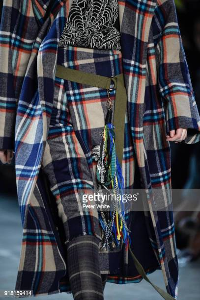 A model shoe detail walks the runway at the Vivienne Tam show during New York Fashion Week at Gallery I at Spring Studios on February 13 2018 in New...