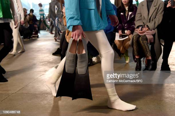 A model shoe detail walks the runway at the Xander Zhou show during London Fashion Week Men's January 2019 on January 05 2019 in London England