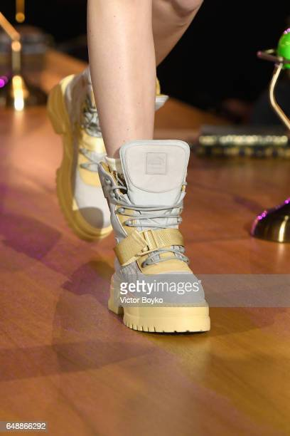 A model shoe detail walks the runway during FENTY PUMA by Rihanna Fall / Winter 2017 Collection at Bibliotheque Nationale de France on March 6 2017...