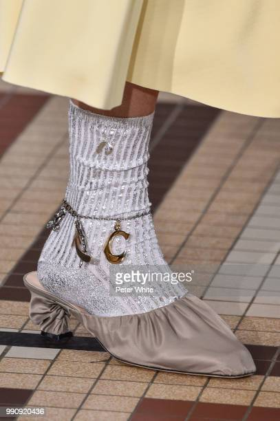 A model shoe detail walks the runway during the Acne Studios Womenswear Spring Summer 2019 show during the Paris Fashion Week on July 1 2018 in Paris...
