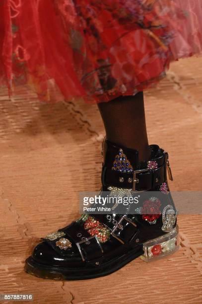 A model shoe detail walks the runway during the Alexander McQueen Paris show as part of the Paris Fashion Week Womenswear Spring/Summer 2018 on...