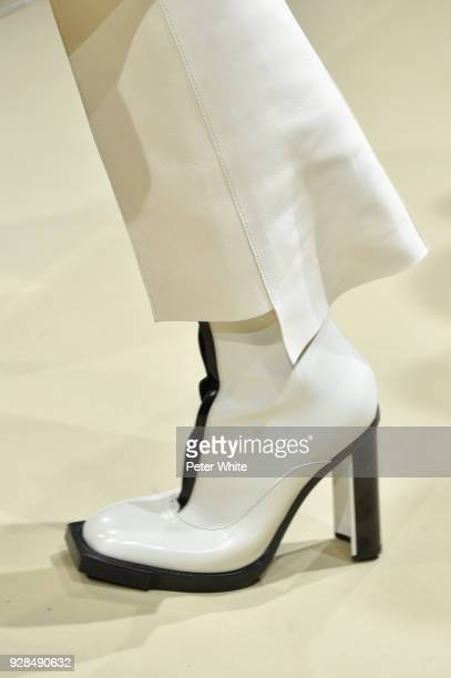 A model shoe detail walks the runway during the Alexander McQueen show as part of the Paris Fashion Week Womenswear Fall/Winter 2018/2019 on March 5...