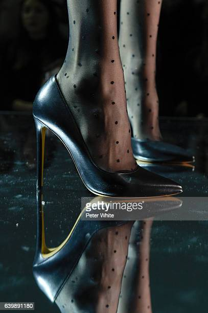 A model shoe detail walks the runway during the Alexandre Vauthier Spring Summer 2017 show as part of Paris Fashion Week on January 24 2017 in Paris...